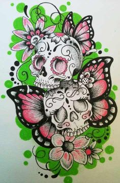 """a bit too much pink for me, but I like the look of the """"sugar"""" type skulls & butterflies."""