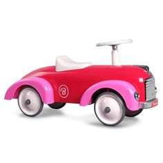 Give your baby a more stylish ride in the Baghera Vintage Metal Ride-On Speedster Car. This car has a sleek design straight out of the and with real steering and bumpers, baby will be safe while they develop important motor skills. Scooter Wheels, Rubber Tires, Creative Play, Fairy Dolls, Pink Candy, Candyland, Motor Skills, Vintage Metal, Mini