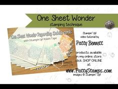 Patty's Stamping Spot video: create a stack of note cards with the One Sheet Wonder technique, Stampin' UP! stamps, ink pads and note cards by Patty Bennett