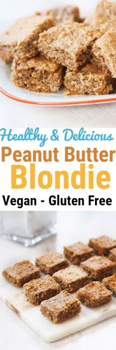 A healthy and delicious version of peanut butter blondies with no butter, no oil, and no flour. These blondies are also made without with only simple and nourishing ingredients. #blondie #peanutbutter #healthy #vegan #glutenfree #cake #dessert #recipe #easy #snack #breakfast #oats