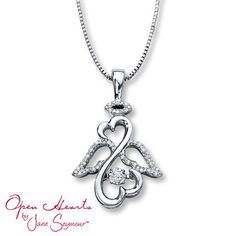 Kay - Open Hearts Rhythm 1/10 ct tw Diamonds Sterling Silver Necklace