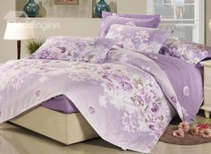 Sweet Rose and Lily Blossom 4 Piece Purple Fitted Sheet Pattern Bedding Set #cheap #cotton #bedding