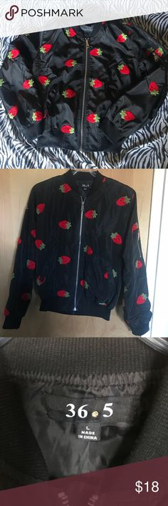 "🆕Fashion Nova Strawberry Bomber Jacket. NWOT. L 36.5 brand from Fashion Nova. Size L. Adorable black bomber jacket with strawberry appliqué. Approximate measurements: Armpit to armpit - 22"". Length - 23.5"". Never worn! 36 Point 5 Jackets & Coats"