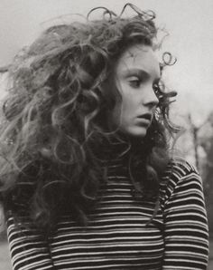 Lily Cole in Vogue Italia May 2005 by Tom Betterton and Jenny Gage, stripy top, big hair, curly hair, hairstyle Long Curly Hair, Big Hair, Curly Hair Styles, Natural Hair Styles, My Hairstyle, Messy Hairstyles, Lily Cole, Crazy Hair, Great Hair
