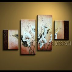 Stunning Contemporary Wall Art Hand Painted Oil Painting Stretched Ready To Hang Lily Flowers. This 4 panels canvas wall art is hand painted by Anmi.Z, instock - $135. To see more, visit OilPaintingShops.com