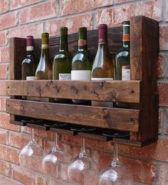 Simply Rustic 6 Bottle Wall Mount Wine Rack with 4 Glass Slot Holder -