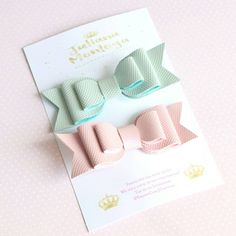 Baby Bows Clips Baby Pink and Mint Green  Baby Hair Clips