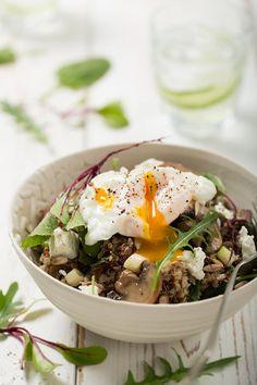 Quinoa and poached egg salad