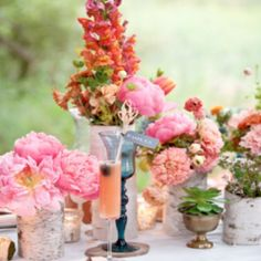 Sweet pink handmade and homemade style wedding inspiration board (image via Elizabeth Anne Designs)