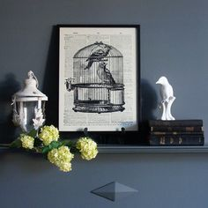 Birdcage Graphic Art Print - available from MiaFleur