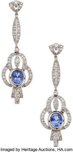 Estate Jewelry:Earrings, Sapphire, Diamond, Platinum Earrings. ...