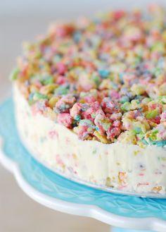 Save this creative dessert recipe to make a Fruity Pebble Crunch Ice Cream Cake.