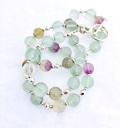 Fluorite Beaded Gemstone Necklace, Purple Green Jewellery, Fluorite Semi Precious Natural Stone Jewelry, Valentine Gift For Her, 18.5 inch by PreciousHCJewellery on Etsy