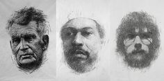 These portraits by Kumi Yamashita are created entirely from rubbings of expired credit cards Artist Sketchbook, Drawing Artist, Artist Art, Creative Portraits, Creative Art, Student Art Guide, Kumi Yamashita, Drawing Machine, Paintings Famous