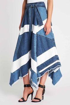Ruffled lace jean skirt asymmetrical hem boho fairy turquoise aqua rhinestones sequins embellished Renaissance Denim Couture Made to Order Denim Skirt Outfit Summer, Denim Skirt Outfits, Denim Outfit, Long Denim Dress, Denim Dresses, Lace Jeans, Denim And Lace, Denim Fashion, Fashion Outfits