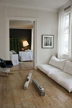 pretty color wood with white walls