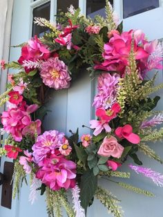 Beautifully Elegant Summer Shades of Pink Grapevine Wreath for door