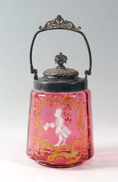 Lot:CRANBERRY GLASS BISCUIT JAR, Lot Number:518, Starting Bid:$100, Auctioneer:Burchard Galleries Inc, Auction:Estate Antiques, Fine Art & Jewelry Auction, Date:09:00 AM PT - Mar 24th, 2013