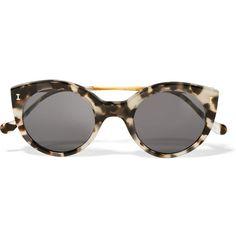 Illesteva Palm Beach cat-eye acetate and gold-tone sunglasses (€180) ❤ liked on Polyvore featuring accessories, eyewear, sunglasses, glasses, tortoiseshell, tortoiseshell sunglasses, illesteva sunglasses, tortoise shell sunglasses, acetate sunglasses and cat-eye glasses