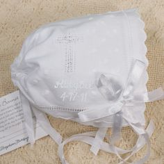 Embroidered Keepsake Cross Baptism Christening Baby Bonnet Becomes Handkerchief for Wedding Personalized with Name and Date Gift by PreppyPinkies on Etsy Unique Baby Gifts, Personalized Baby Gifts, Personalized Wedding, Boy Baptism, Christening, Baptism Gifts, Floral Sports Bras, First Communion Gifts, Baby Album
