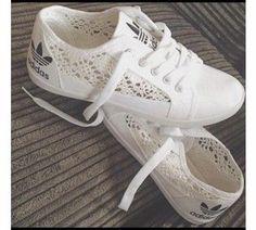 Adidas Summer Themed Crochet Whtie Sneakers