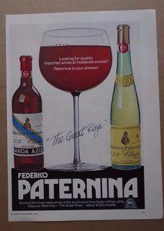 vintage Paternina wine spain print ad advertisement alcohol liquor