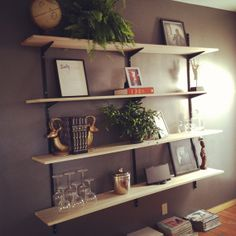 DIY mid-century modern shelves