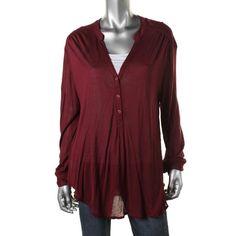 MAISON JULES 0661 NEW Womens Red Knit Lightweight Solid Henley Top Shirt M BHFO