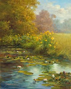 Kai Fine Art is an art website, shows painting and illustration works all over the world. Beautiful Landscape Paintings, Nature Paintings, Landscape Art, Nature Pictures, Nature Images, Lake Art, Watercolor Trees, Art Background, Art Oil