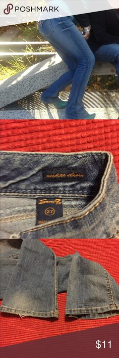Seven jeans boot leg with fraying on the bottom Seven jeans tight fit boot cut looks nice with any shoe has fraying in the button that adds to distressed look of jean Seven7 Jeans Boot Cut