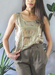 8b52cb4e6184a Metallic Gold Disco Shiny Tank Top Blouse Vintage 80s