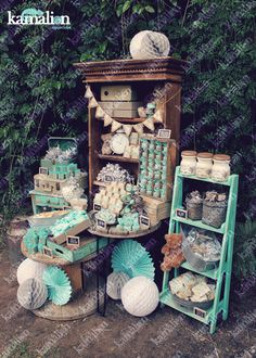 www.kamalion.com.mx - Mesa de Dulces / Candy Bar / Postres / Bautizo / Gris & Menta / Mint & Gray / Vintage / Rustic Decor / Teddy / Wood / Carrete / Librero / Dessert.