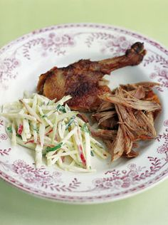 Four words: crispy peking duck pancakes. Jamie Oliver's recipe combines delicious crispy duck and plum sauce with all the trimmings. Other Meat Recipes, Duck Recipes, Roast Recipes, Healthy Recipes, Chicken Recipes, Game Recipes, Roast Duck, Slow Roast, Jamie Oliver Pancakes