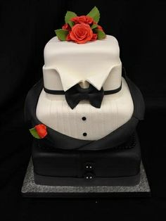 Love it!  Black and White Tuxedo Cake -- literally a Black Tie Cake! Absalutly love this cake. If I could change the red for blue, and maybe a picture of my face on one side and prestons on the other.