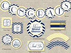Yellow & Navy Chevron Bridal Shower Decorations Package. DIY Print-Your-Own Bridal Shower Decor.. $20.00, via Etsy.