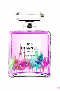 Chanel Wall Art - Painting - Chanel Perfume Pink by Del Art