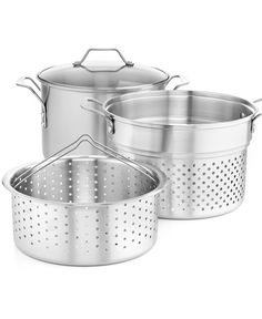 CLOSEOUT! Simply Calphalon Stainless Steel 8 Qt. Covered Multi-Pot with Strainer & Steamer Inserts - Sale & Clearance - Kitchen - Macy's