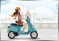 #vespa #girl Moto Scooter, Vespa Ape, Lambretta Scooter, Vespa Scooters, Vespa Girl, Scooter Girl, Vespa Illustration, Cartoon Sketches, Bike Art