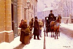 """Jean Béraud (1849 – 1935) was a French Impressionist painter and commercial artist noted for his paintings of Parisian life during the Belle Époque. ~ """"La Sortie du Bourgeois"""""""