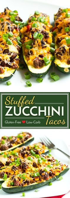 These stuffed zucchinis with taco filling are super light, low-carb and make an excellent lunch or dinner recipe for a busy week! Substitute ground tofu for the meat, and these stuffed zucchini tacos can easily be made vegan and vegetarian!