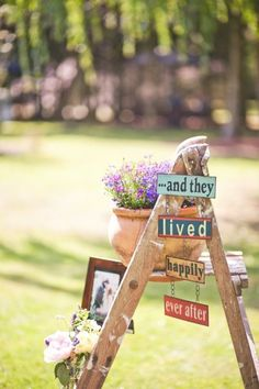 use small stepladders (the older the better) in all decor ex. food and drink and gift tables, and tables by hay bale sofas , near lawn games as tables.