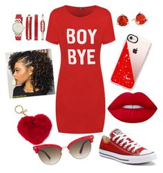 """""""red from head to toe"""" by official-queen-liyah ❤ liked on Polyvore featuring WearAll, Converse, Casetify, Kate Spade, Anne Klein, MICHAEL Michael Kors and Gucci"""