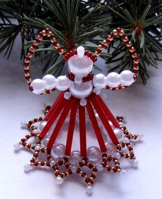 Vánoční andílek ledově červený 2