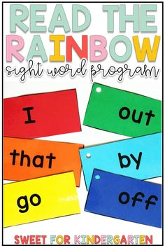 Teaching sight words in preschool, kindergarten, and first grade can be super fun with these rainbow sight word activities! Click the pin to check out this editable sight word program for teaching your young learners to recognize their list of 100 words.