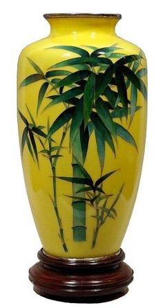 Japanese cloisonne vase in bright yellow with bamboo. by aimee