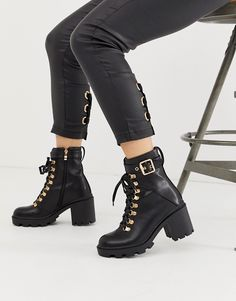 Order Public Desire Swag black chunky lace up boots with gold hardware online today at ASOS for fast delivery, multiple payment options and hassle-free returns (Ts&Cs apply). Get the latest trends with ASOS. Black Lace Up Boots, Lace Up Heels, Galaxy Converse, Flat Boots, Shoe Boots, Women's Boots, Swag, Cute Shoes, Me Too Shoes