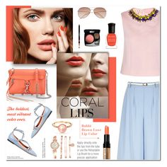 """""""Spring Beauty: Corals"""" by anyasdesigns ❤ liked on Polyvore featuring Yumi, Bobbi Brown Cosmetics, Anne Klein, Valentino, Marni, Rebecca Minkoff, Deborah Lippmann, Tiffany & Co., women's clothing and women"""