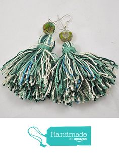 Tassel Earrings in Beachy Shades of Green with Cream Accents from Jooniebeads Treasures https://www.amazon.com/dp/B01M720CIX/ref=hnd_sw_r_pi_dp_t6MmybHD0H8N2 #handmadeatamazon