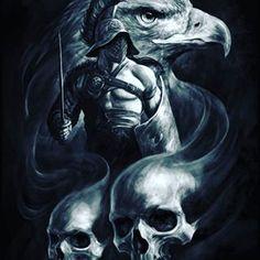 Images of skull art fantasy head - Gladiator Tattoo, Skull Tattoos, Body Art Tattoos, Sleeve Tattoos, Eagle Tattoos, Warrior Tattoos, Viking Tattoos, Warrior Tattoo Sleeve, Armor Tattoo