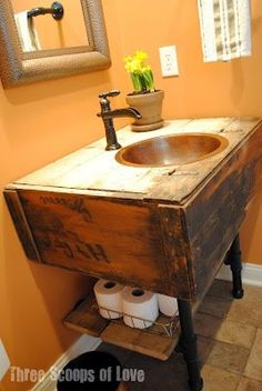 Old Salvaged Wall Cabinet.re-purposed into a fabulous rustic bathroom vanity with the addition of plumbing pipe for the legs & storage shelf. Will do this when we have a beach house. Repurposed Furniture, Industrial Furniture, Diy Furniture, Furniture Design, Industrial Decorating, Painted Furniture, Industrial Pipe, Industrial Style, Urban Industrial